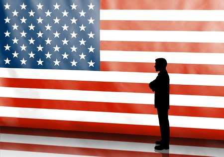 candidate: Thinking business man silhouette on american flag background