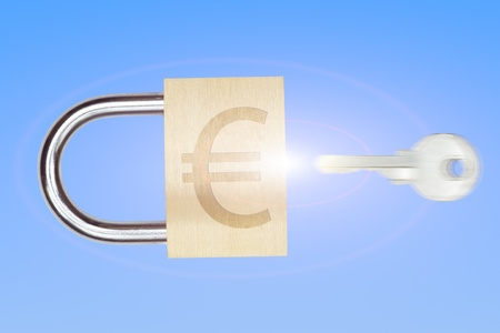 Key with padlock and euro sign on blue background Stock Photo - 13033948