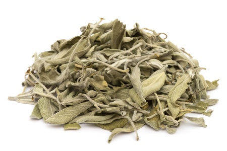 officinalis: Dried salvia on white background Stock Photo