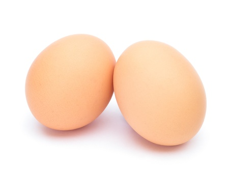 Two eggs on white background Stock Photo - 13618401