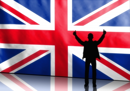 man thumbs up: Silhouette of a british politician with thumbs up on flag background