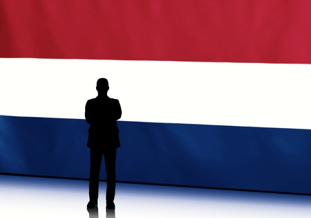 Silhouette of dutch politician with arms crossed against flag background photo