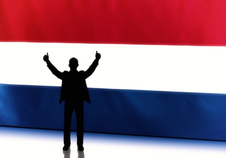 Silhouette of a dutch politician with thumbs up against flag background photo