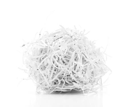shredded: Shredded paper ball on white background
