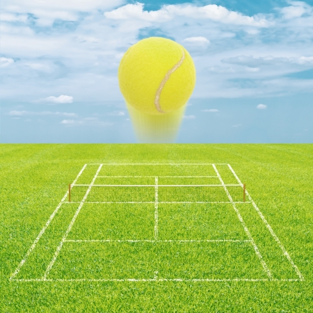 Grass tennis court with flying ball photo