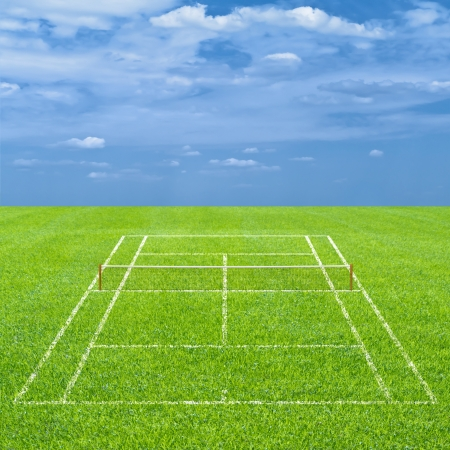 center court: Grass tennis court on sky template Stock Photo
