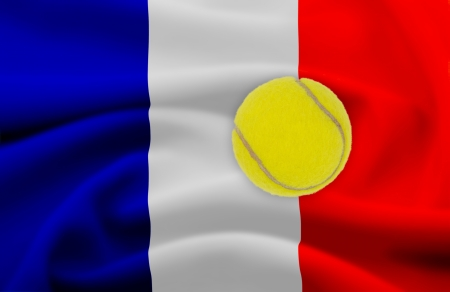 Roland Garros tennis concept with flag and ball photo