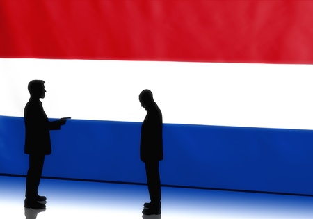 Silhouettes of dutch politicians on flag background Stock Photo - 14068046