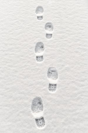 foot step: Closeup di passi pi� in neve Archivio Fotografico