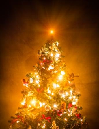 Christmas Tree lit on brown wallpaper