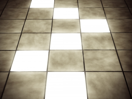 tile flooring: Illuminated tiles on ceramic floor