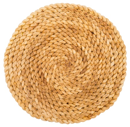 rattan mat: Wicker placemat isolated on white