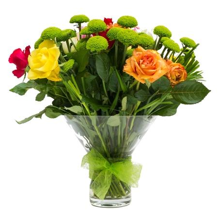 arreglo de flores: Ramo de flores aisladas en blanco Foto de archivo