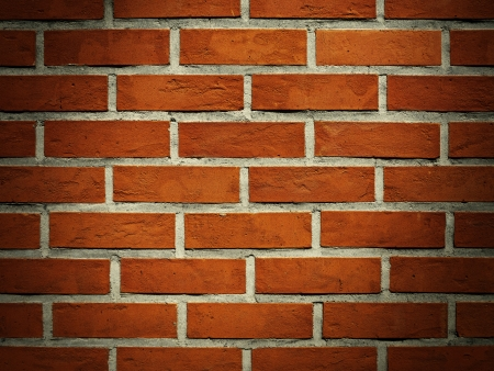bricks background: Red brick wall with vignette for background