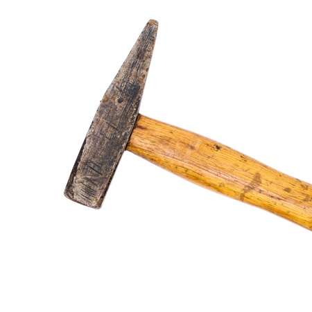 Old hammer isolated on white Stock Photo - 14855519