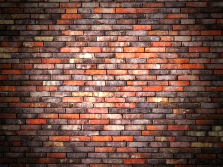 Colorful brick wall background with black vignette