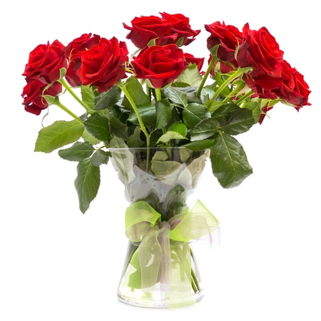 rosas rojas: Ramo de Rosas en jarrón de vidrio con una cinta aisladas sobre fondo blanco Foto de archivo