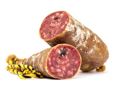 dry sausage: Dry sausage isolated on white