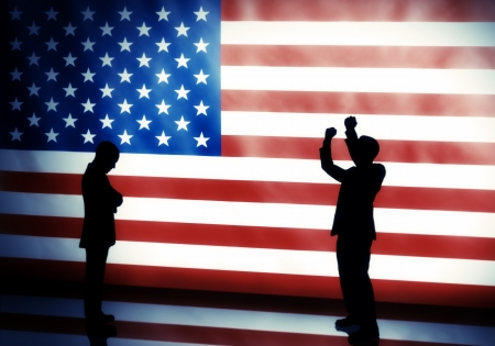 American elections concept with two human silhouettes posing on flag background photo
