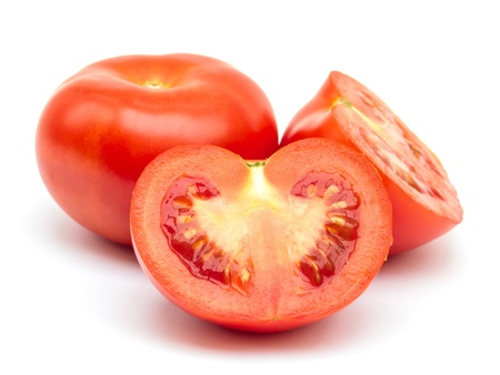 Tomato section on white background photo