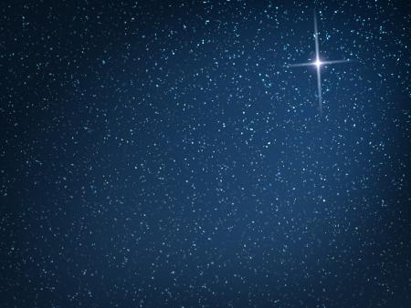 cruz religiosa: Estrella de Navidad en la nevada noche
