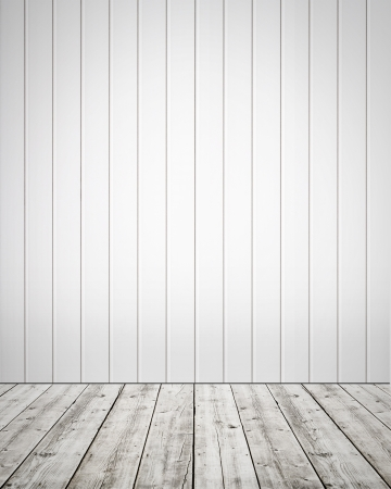 White plastic wall with wooden floor background Stock Photo