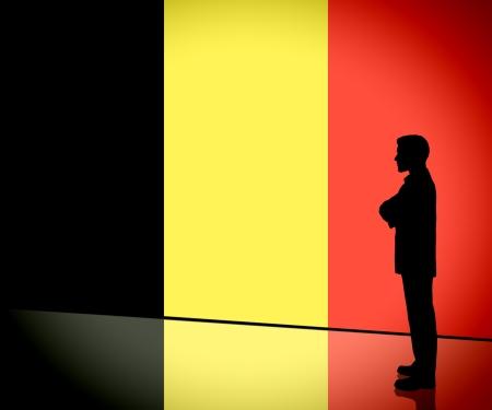 Belgian businessman thinking silhouette on Belgium flag Stock Photo - 16423732