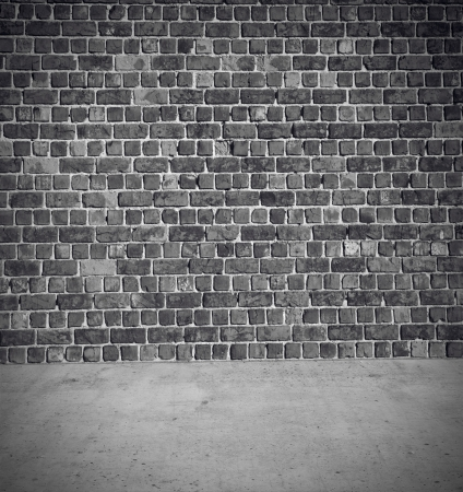 Brick wall with concrete floor background Stock Photo - 16423736