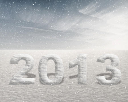 Snowing in 2013 concept with frozen numbers in snow landscape photo