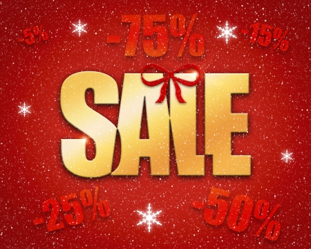 christmas promotion: Christmas sale concept with golden text on red background
