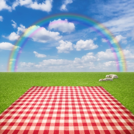 on the tablecloth: Picnic template with tablecloth in grass field and rainbow in sky