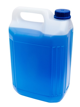 antifreeze: Coolant bottle isolated on white Stock Photo