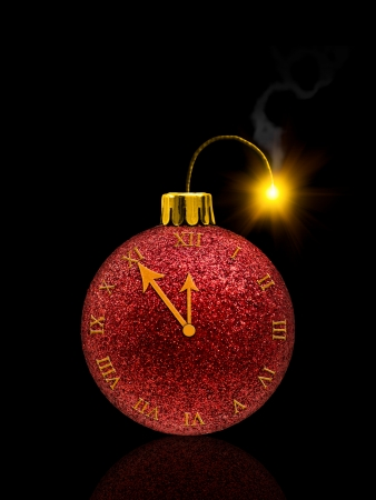 burning time: Fireworks concept from christmas bauble with clock and fuse