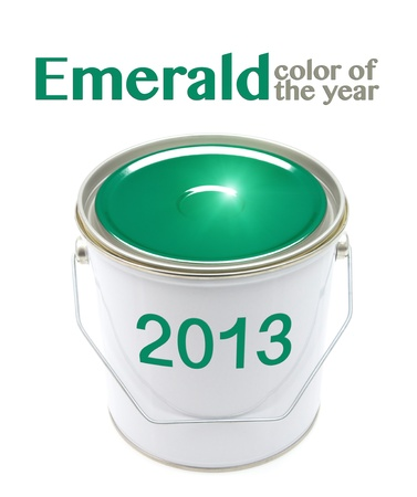 Emerald color paint can with 2013 label isolated on white photo
