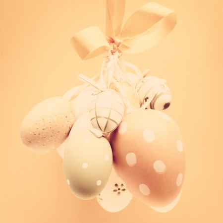 Easter eggs hanging with vintage look Stock Photo - 17905169