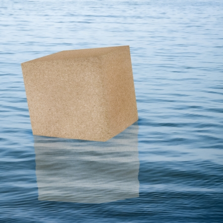 Overseas shipping concept with cardboard box in water Stock Photo - 18181034