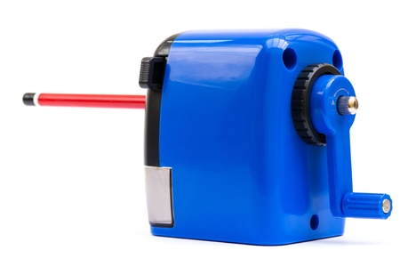 hand crank: Hand cranked blue pencil sharpener isolated on white