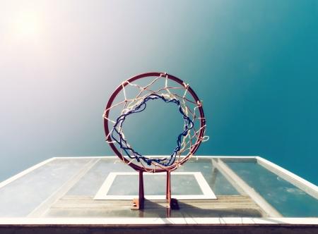 backboard: Basketball backboard below the net with vintage look