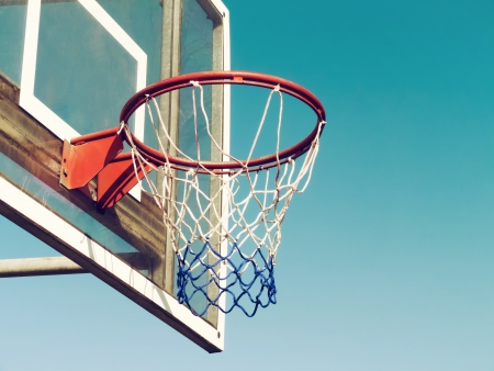 basketball hoop: Closeup of basketball hoop with vintage look