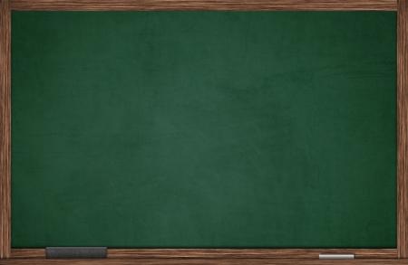�board: Pizarra verde en marco de madera con borrador y tiza
