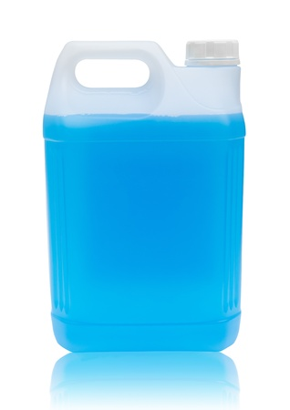 Windshield washer fluid on white background with clipping path photo