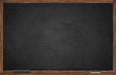 Blackboard in wooden frame with chalk and eraser Stock Photo