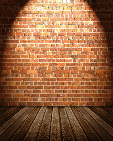 Interior backdrop from wooden floor and brick wall with spotlight photo