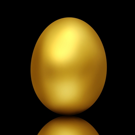 Golden egg on black background photo