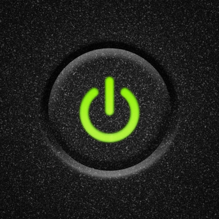 green power: Power button with green lit icon