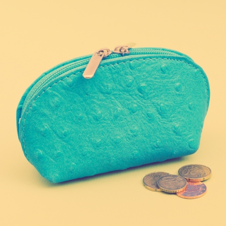 earned: Money bag with euro cents, retro look