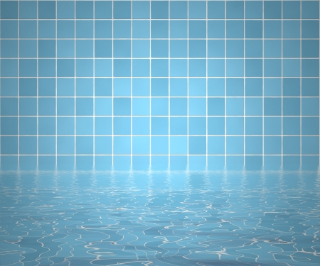 Bathtub background with bathroom tiles and water photo