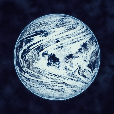 global cooling: Global cooling concept with planet earth covered in ice