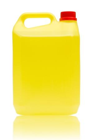 productos quimicos: Bote Bleach aislado en blanco con trazado de recorte Foto de archivo