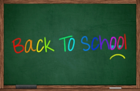 kiddie: Back to school written on chalkboard with unhappy face Stock Photo